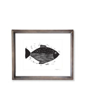 Stripes and Dots Abstract Fish | Block Print