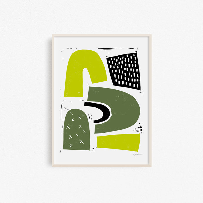 Floating Shapes with Shades of Green | Block Print