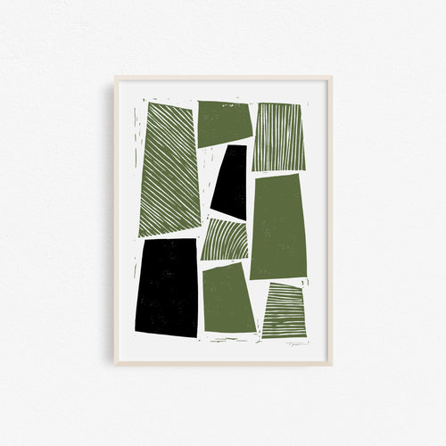 Grain - Black and Army Green | Block Print