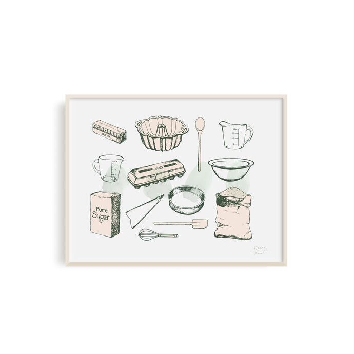 Baking Ingredients Kitchen Art Print