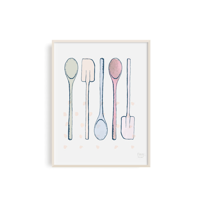 Spoons and Spatula Kitchen Utensils Art Print