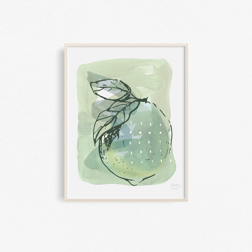 Lemon with Dots Kitchen Art Print