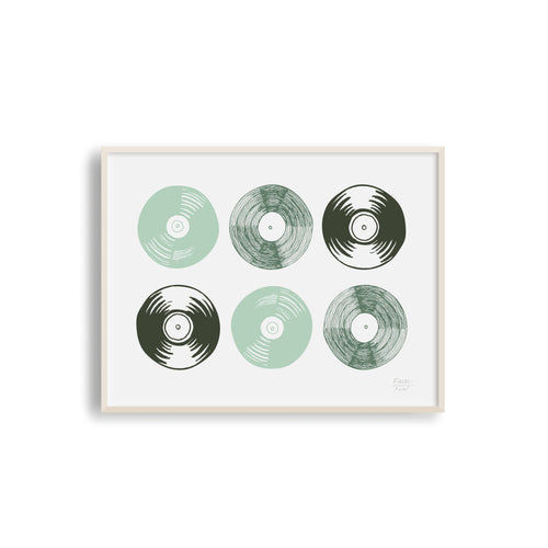 Six Vinyl Records Musical Art Print