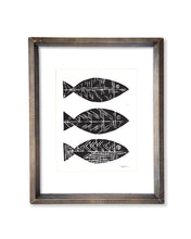 Three Tribal Fish | Block Print