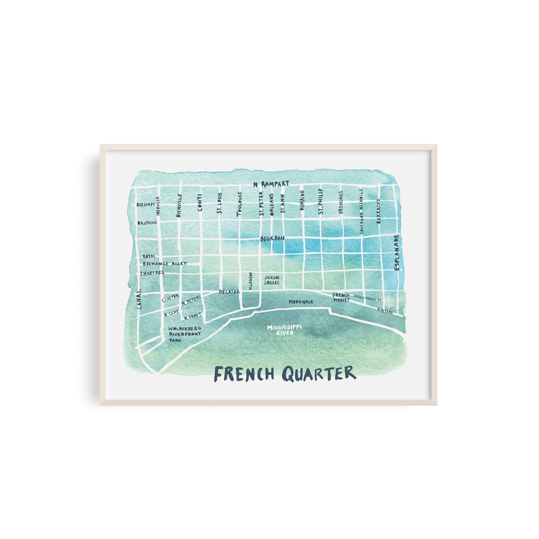 French Quarter Watercolor Map - Illustration Art Print