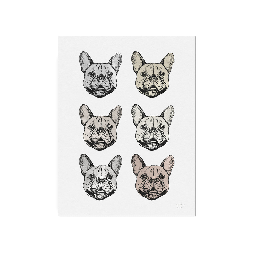Frenchie Faces Art Print