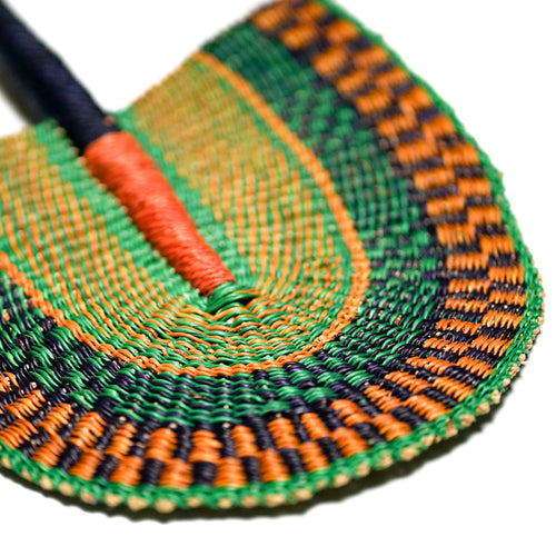 Green and Orange - One of a Kind Colorful Ghanaian Fan