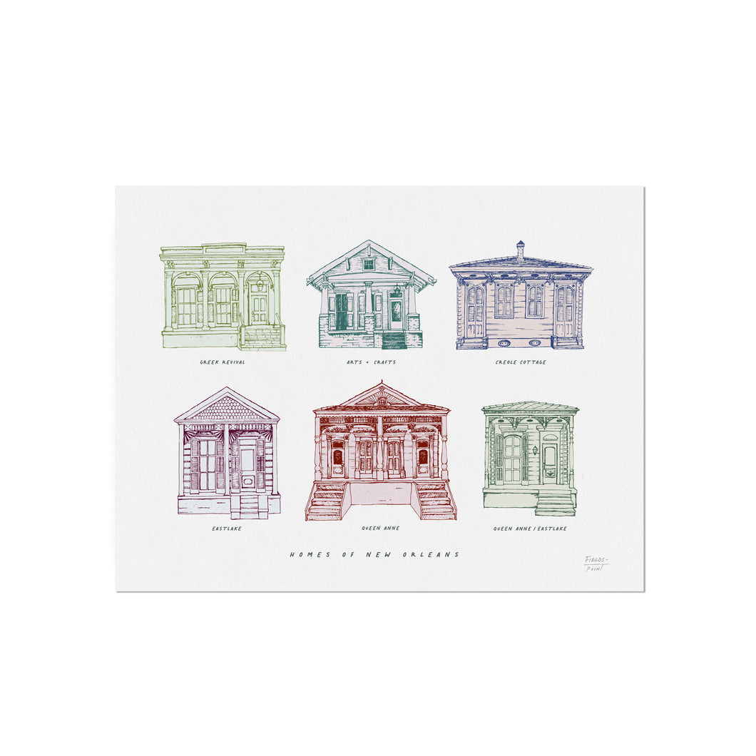 Homes of New Orleans -  Illustration Art Print