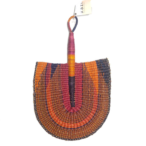Multi Colored with Pink and Orange - One of a Kind Colorful Ghanaian Fan