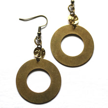 Thick Hoop Earrings with Textured Charms - Raw Brass Dangle Earrings