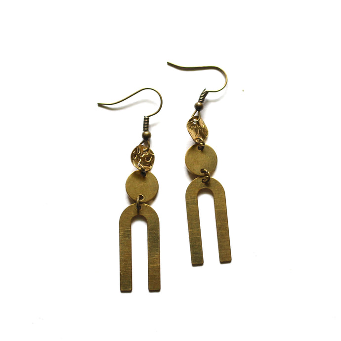 Modern Raw Brass U Earrings