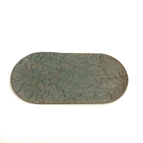 Long Oval Ceramic Tray - Curved Pattern
