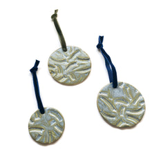 Curved Lines Porcelain Circle Ornament - Deep Green Glaze