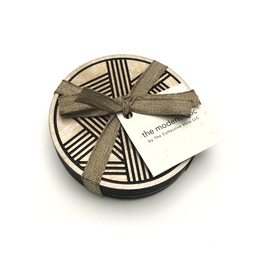 Modern Lines Birch Wood Coasters