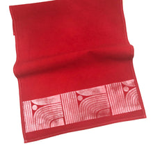 Red Dyed - Modern Lines Tea Towel - Block Printed Kitchen Towel