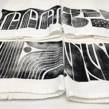 Set of 4 Black and White Tea Towels - Block Printed Kitchen Towel
