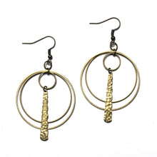 Double Hoops Earrings with Textured Long Charm - Raw Brass Dangle Earrings