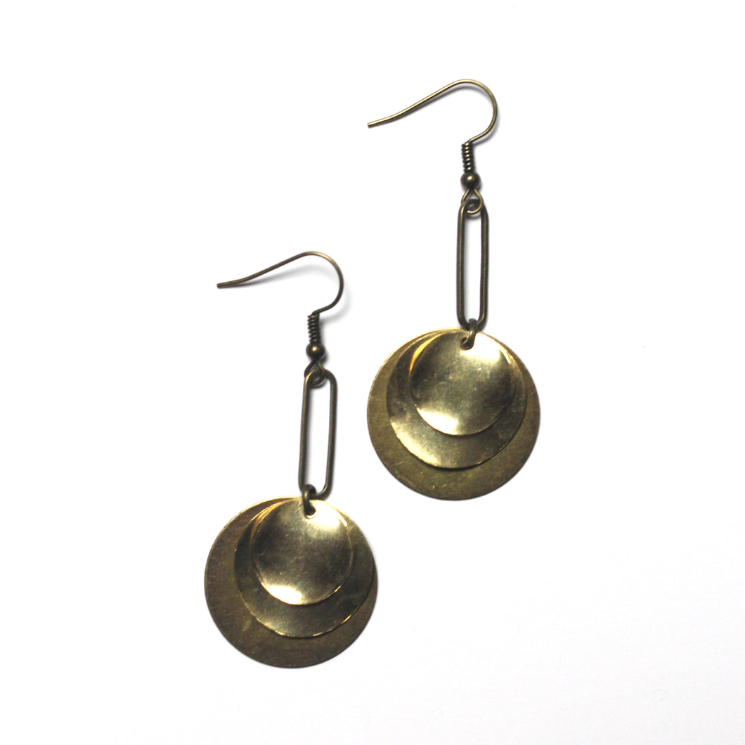 Layered Circular Raw Brass and Antique Brass Dangle Earrings