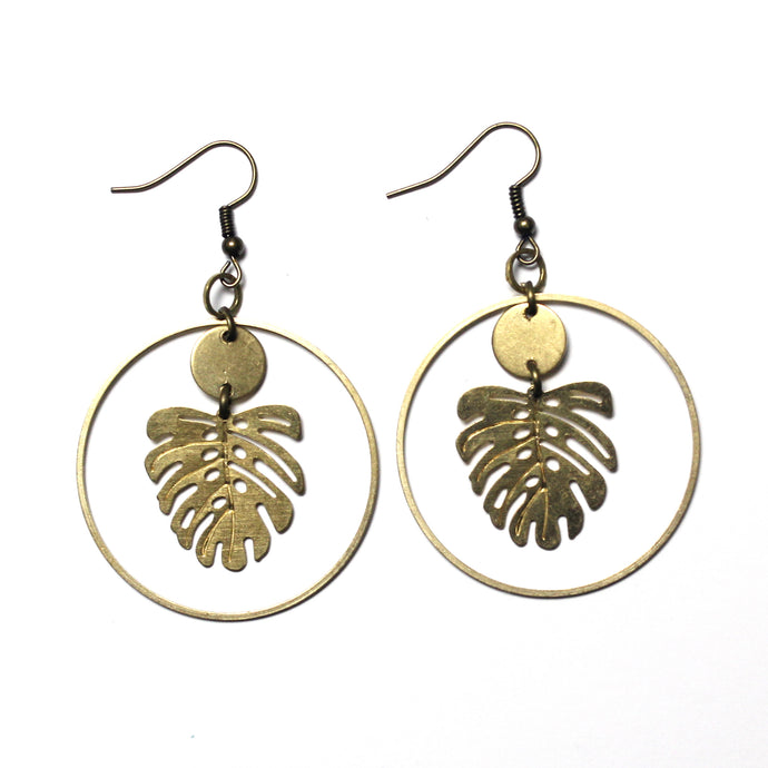Tropical Leaf Raw Brass Hoop Earrings