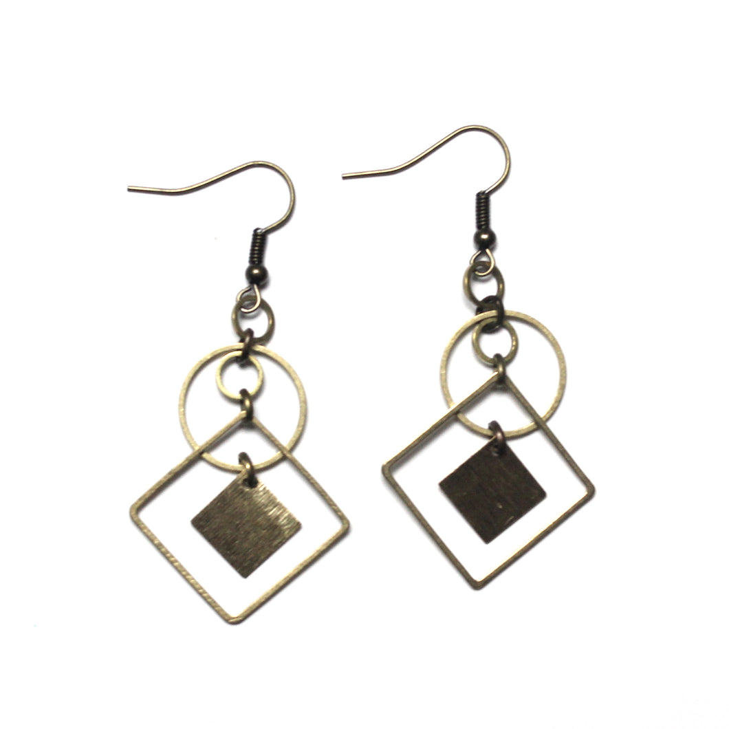 Circle and Square Raw Brass Dangle Earrings