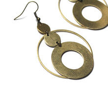 Raw Brass Hoops Earrings with Circle Charms Earrings