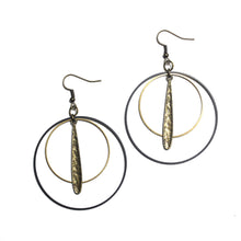 Double Black and Raw Brass Hoops Earrings with Textured Long Charm Earrings