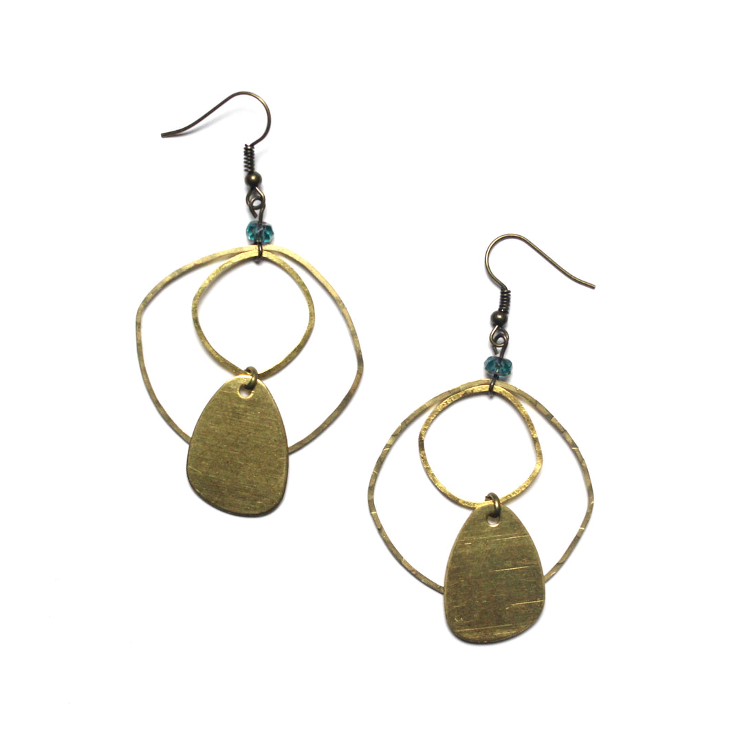 Raw Brass Modern and Organic Shaped Earrings with Ocean Blue Glass Beads