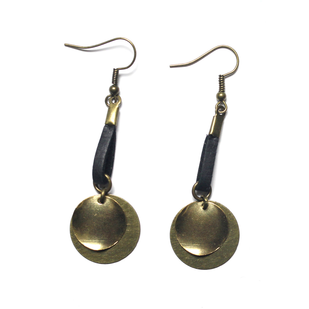 Layered Circular Raw Brass and Antique Brass with Black Leather Dangle Earrings