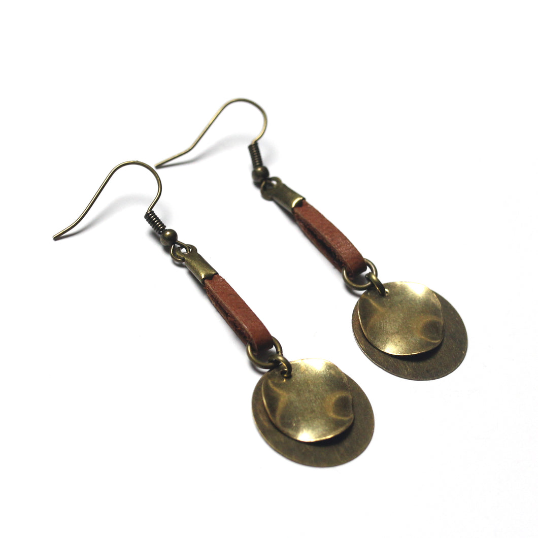 Layered Circular Raw Brass and Antique Brass with Tan Leather Dangle Earrings