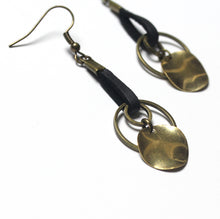 Wavy Raw Brass and Antique Brass with Black Leather Dangle Earrings