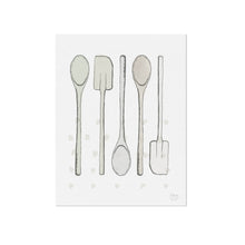 Spoons and Spatula Kitchen Utensils Art Print - Neutral