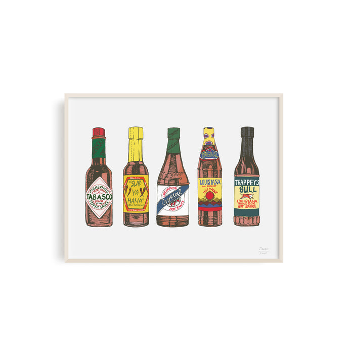 Louisiana Hot Sauces Illustration