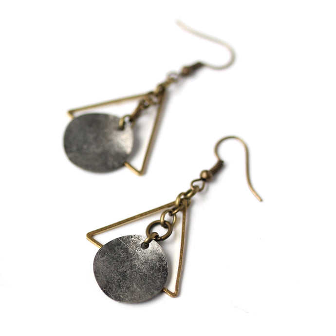 Minimalist Triangles with Wavy Oxidized Silver Charms -  Dangle Earrings