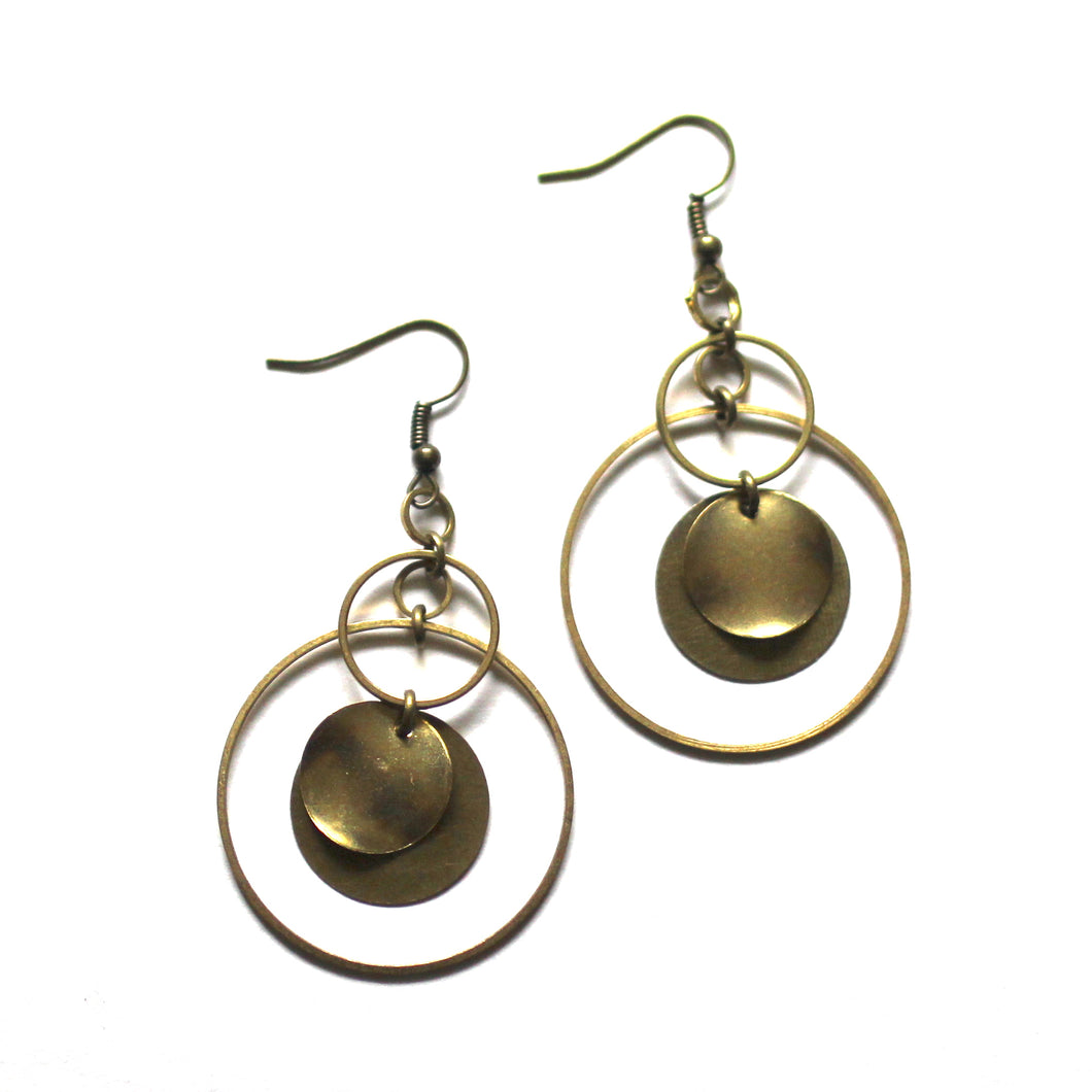 Modern Circles - Raw Brass and Antique Brass Dangle Earrings