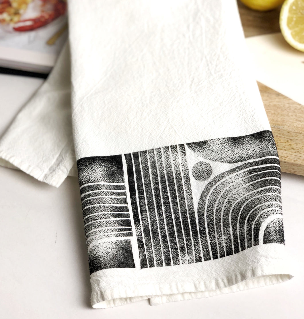 Modern Lines Tea Towel - Block Printed Kitchen Towel