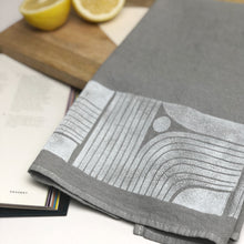 Dyed - Modern Lines Tea Towel - Block Printed Kitchen Towel