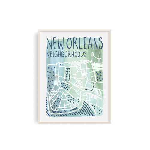 New Orleans Neighborhoods Watercolor Map Art Print