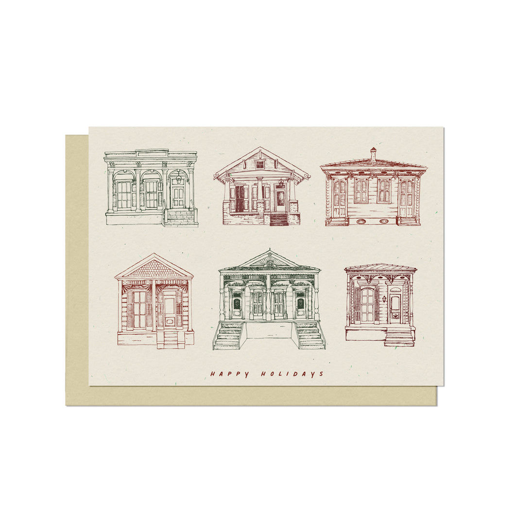Holiday Homes of New Orleans | Blank Christmas Card