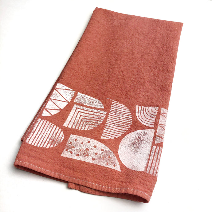 Dyed - Patterned Shapes Tea Towel - Block Printed Kitchen Towel