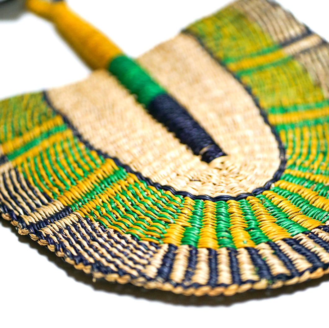 Purple Yellow Green - One of a Kind Colorful Ghanaian Fan