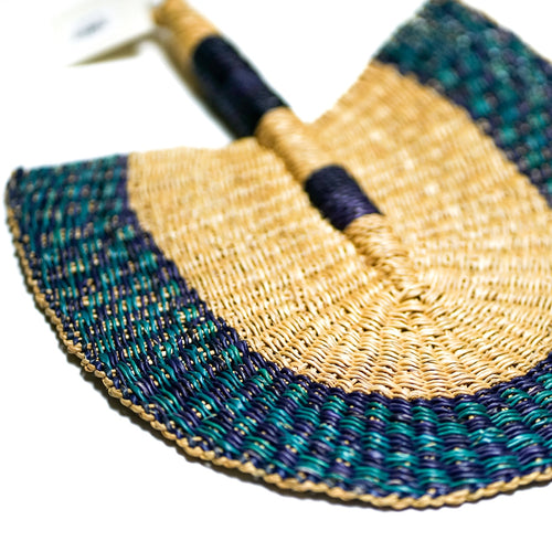 Purplish-Blue and Teal - One of a Kind Colorful Ghanaian Fan