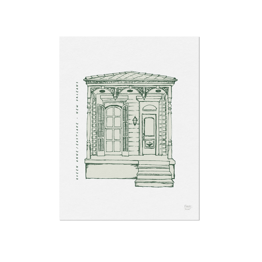 Queen Anne - New Orleans Homes Illustration Art Print