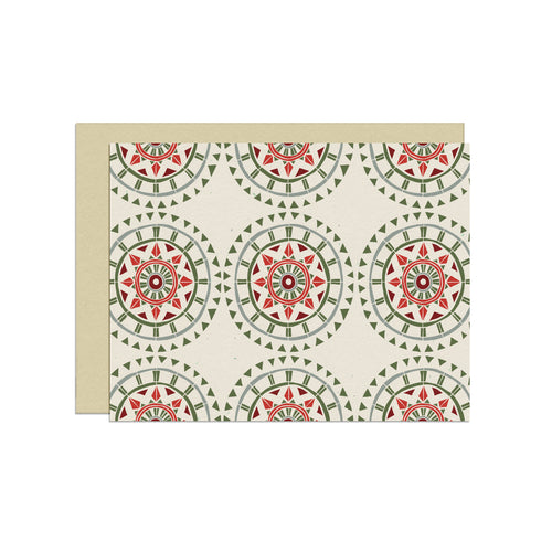 Repeating Circular Holiday Pattern | Blank Holiday Card