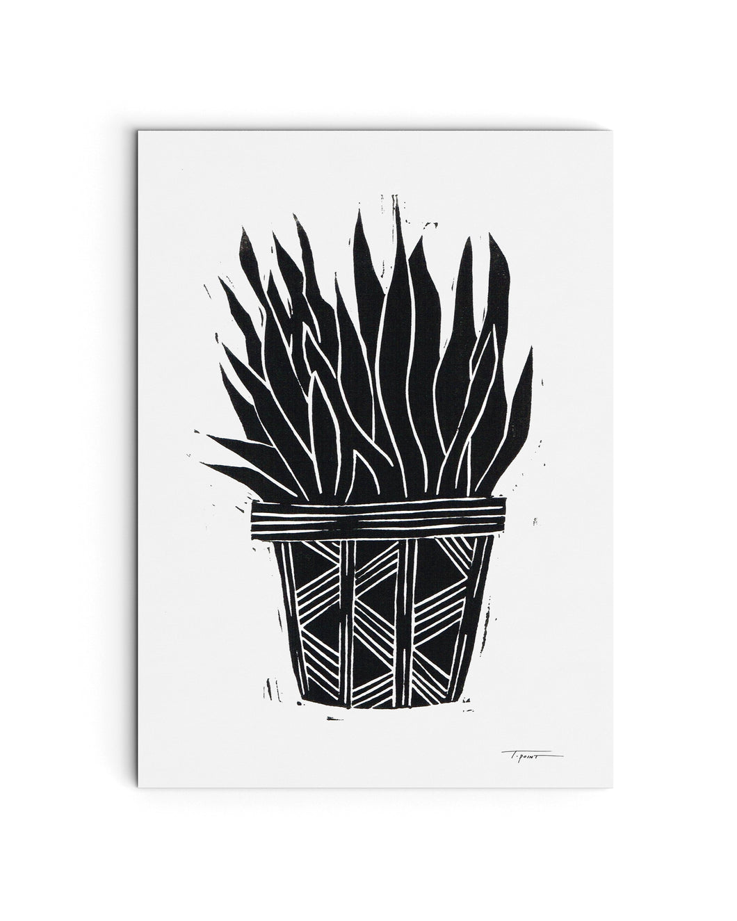 Succulent in a Pot with Pattern | Block Print