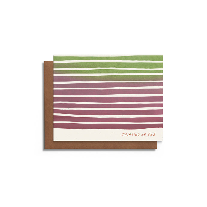 Thinking of You - Watercolor and Stripes - Blank Card