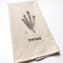 Thyme Block Printed Natural Cotton Kitchen Towel
