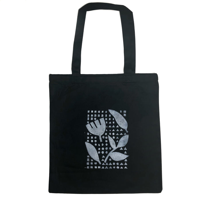 Abstract Flowers and Shapes Cotton Canvas Tote Bag