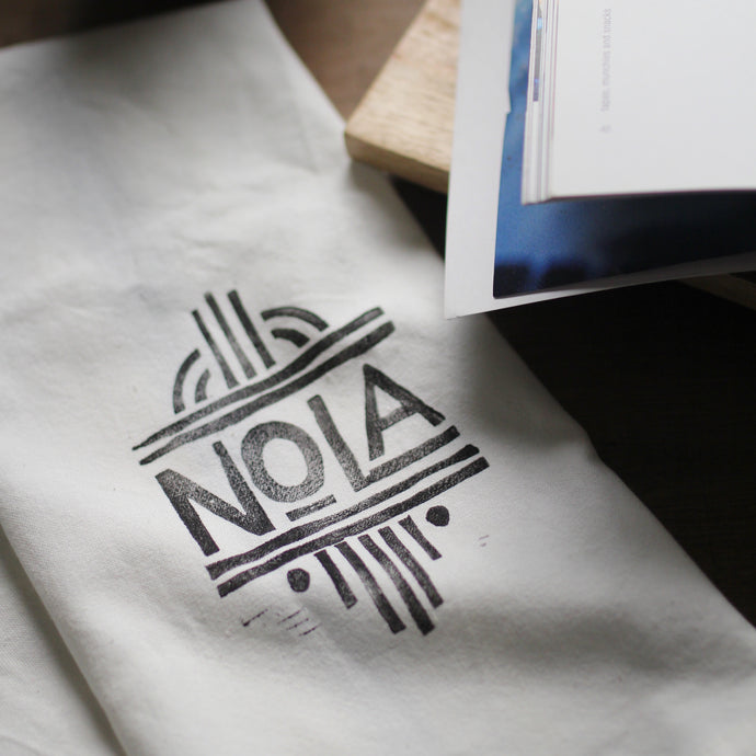 Nola Kitchen Towel - Off-White Towel - Block-Printed by Hand