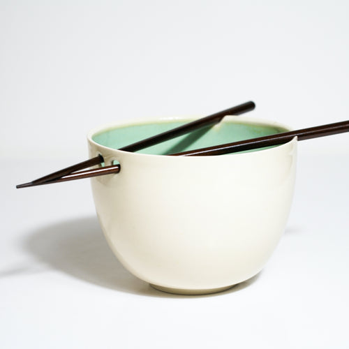 White with Green Glazed Interior Noodle Bowls - London Clayworks