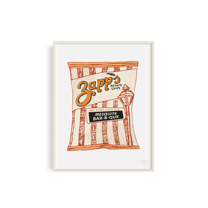 Zapps Mesquite Bar-b-que Chips Illustration by Statement Goods